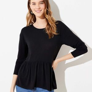 LOFT Long Sleeve Black Peplum Top NWT